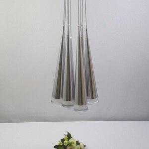Image 4 - الحديثة led مخروطي قلادة ضوء الألومنيوم معدن المنزل الإضاءة الصناعية مصباح معلق الطعام غرفة المعيشة مقهى droتحكم تركيبات