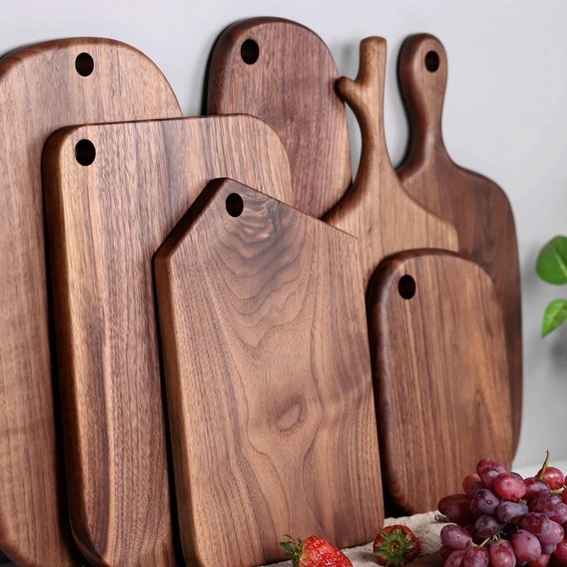 chopping boards Solid wood cutting board black walnut pizza board whole wood steak bread board cutting vegetables fruit 1