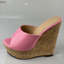 Mules Sandals Wedges Heels Party-Shoes Open-Toe Women Platform Plus-Size Olomm Gorgeous