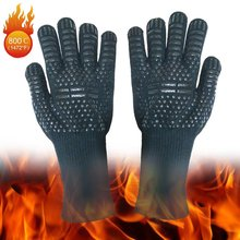 Grill Gloves Leather Oven Gloves Grill Leather Gloves Heat Resistant Universal Size Cooking Gloves