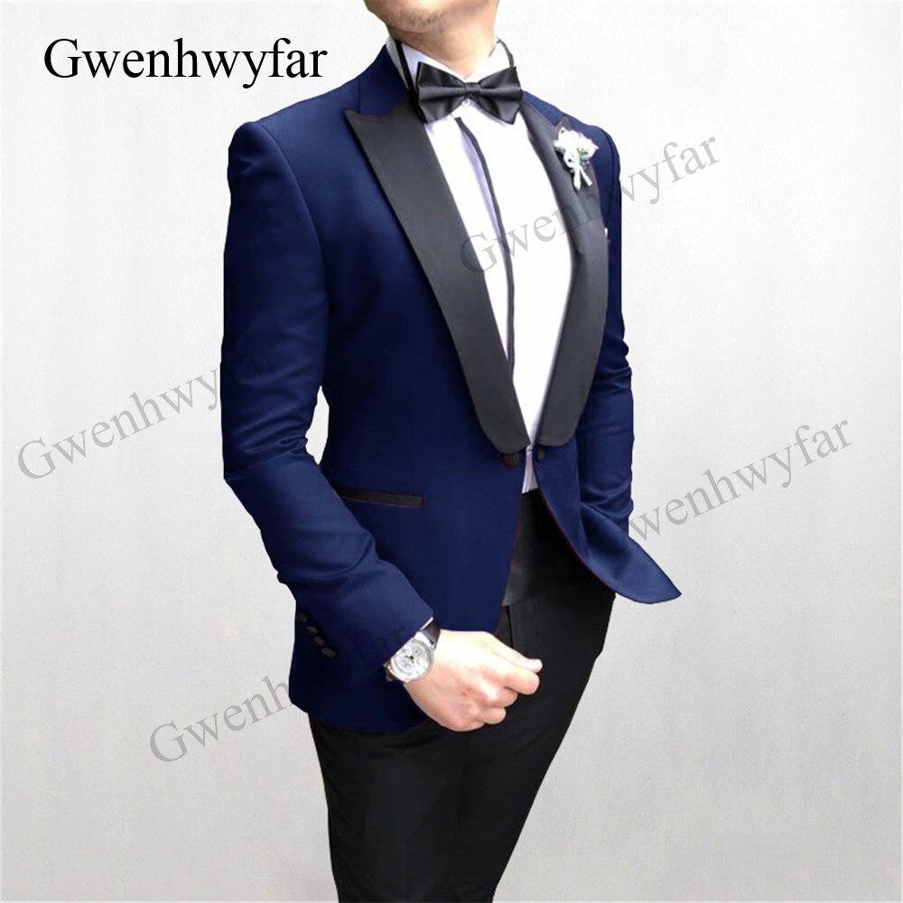 navy blazer black pants Gwenhwyfar New Designed Buttoned Men Suits Navy Blazer Black pants 2020  Spring Fashion Wedding men good quality Party Prom Suits Suits  - AliExpress