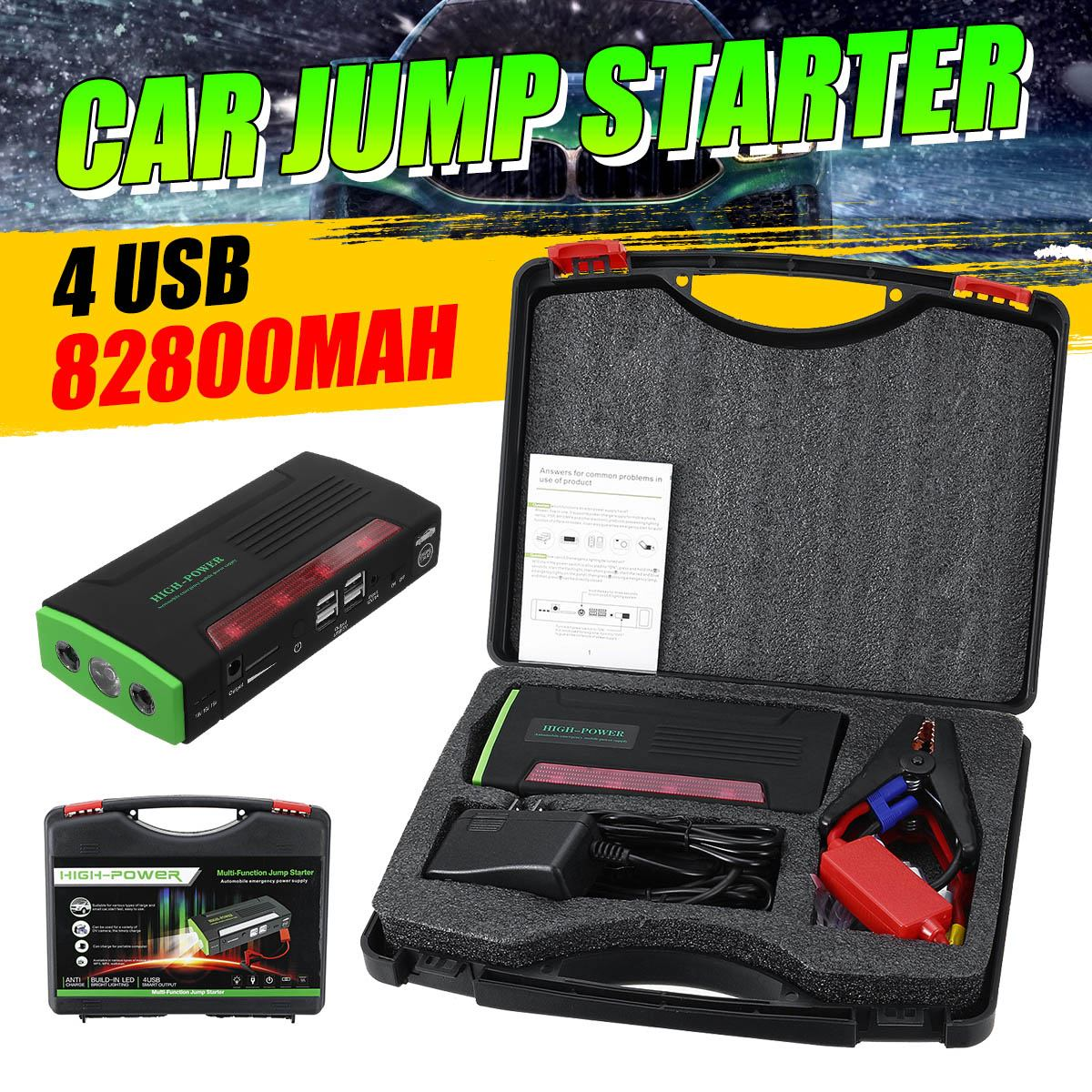Audew Multi Function Portable 12V Car Jump Starter 600APeak 82800mAh Battery Booster Power Bank For Car Charger 4 USB Port