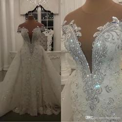 Modern Mermaid Wedding Dresses with Detachable Skirt Shining Crystals Beads Appliques Sheer Neck Backless Long Bridal Gowns