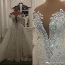 Szata de Mariage nowoczesne koronkowe suknie ślubne syrenka błyszczące kryształy koraliki aplikacje przezroczysta szyja suknie ślubne dla panny młodej