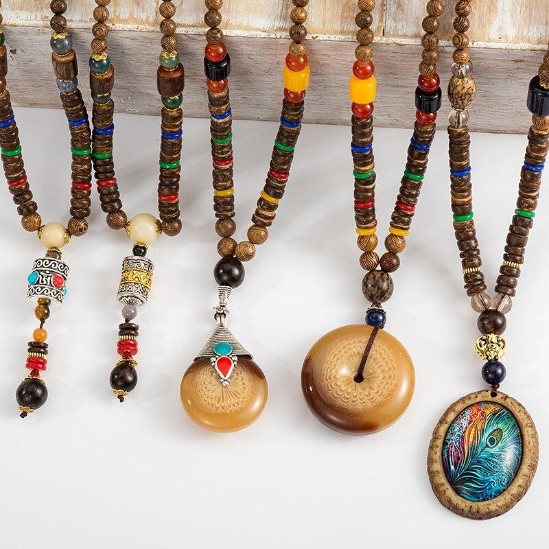 Handmade Nepal Necklace Buddhist Mala Wood Beads Pendant & Ethnic  Long Statement Jewelry Women Men