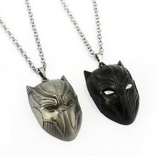 Black Panther Pendant Necklace Men Jewelry and Silver Mask Metal Gift