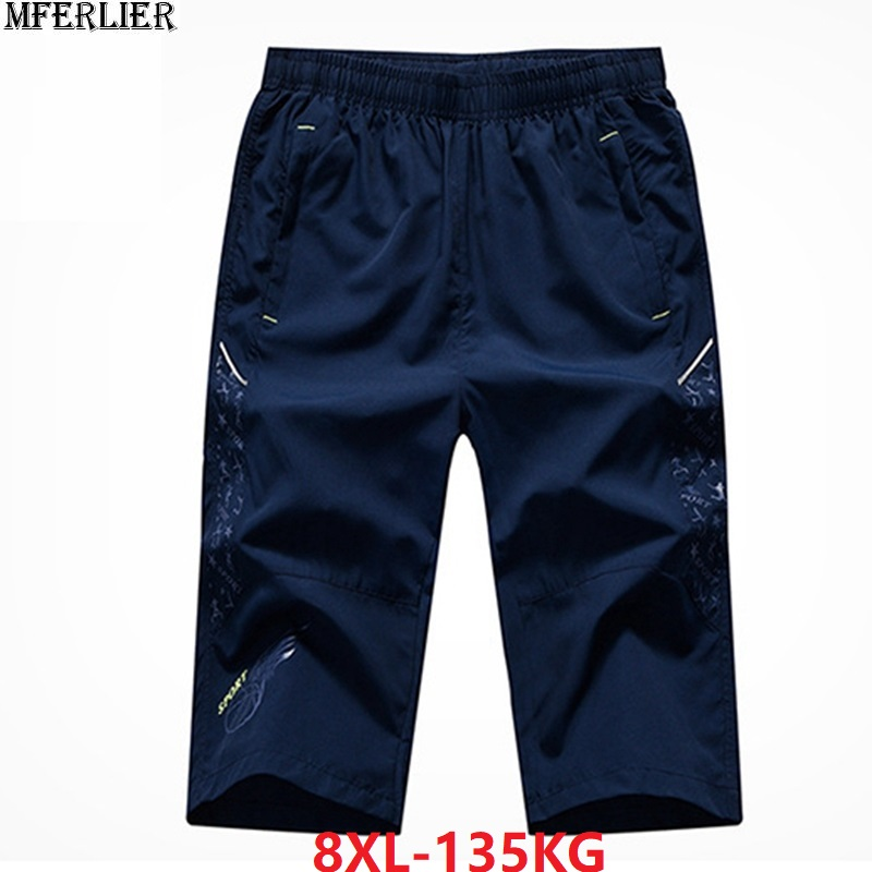 Summer Men Sports Shorts Quick Dry Plus Size 7XL 8XL Breathable Loose Letter Zipper Out Door Shorts Stretch 130KG Navy Blue Gray