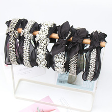 Cheer Bows Vintage Black Lace Hairband for Women Metal Beads Pearl Headband Rhinestone Knotted Bow Hair Hoop Hair Accessories stylish beads lace hairband for women