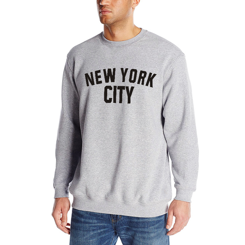 2018 Europe And America Popular Brand Autumn MEN'S Wear Long Sleeve Lettered New York City MEN'S Sweater Loose-Fit Crew Neck image