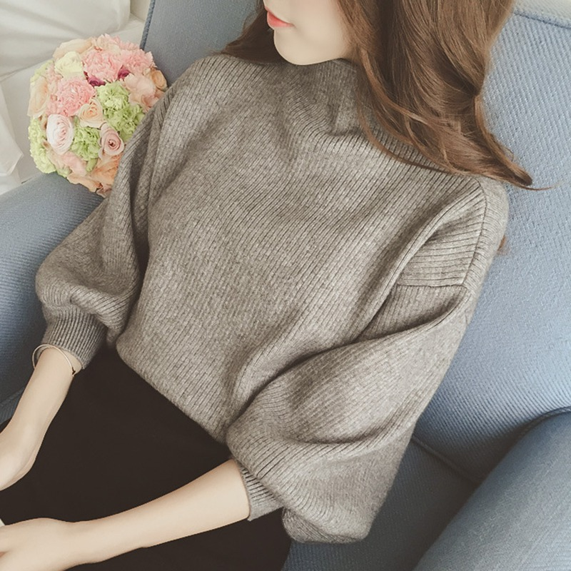 Autumn Women Sweaters Jumper Pullover Solid Tops Casual Long Lantern Sleeve Loose Knitted Turtleneck Sweater Female