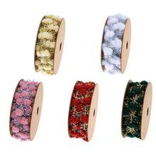 Glitter Tinsel Pom Pom Wire Ribbon Metallic Garland DIY Gift Wrapping Decoration F3MF