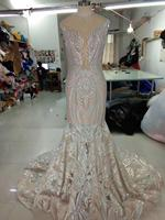 2020 Real Sample Sleeveless Formal Party Dress Shiny Embroidered Sequins Lace Mermaid Illusion Open Bust Prom Evening Dresses