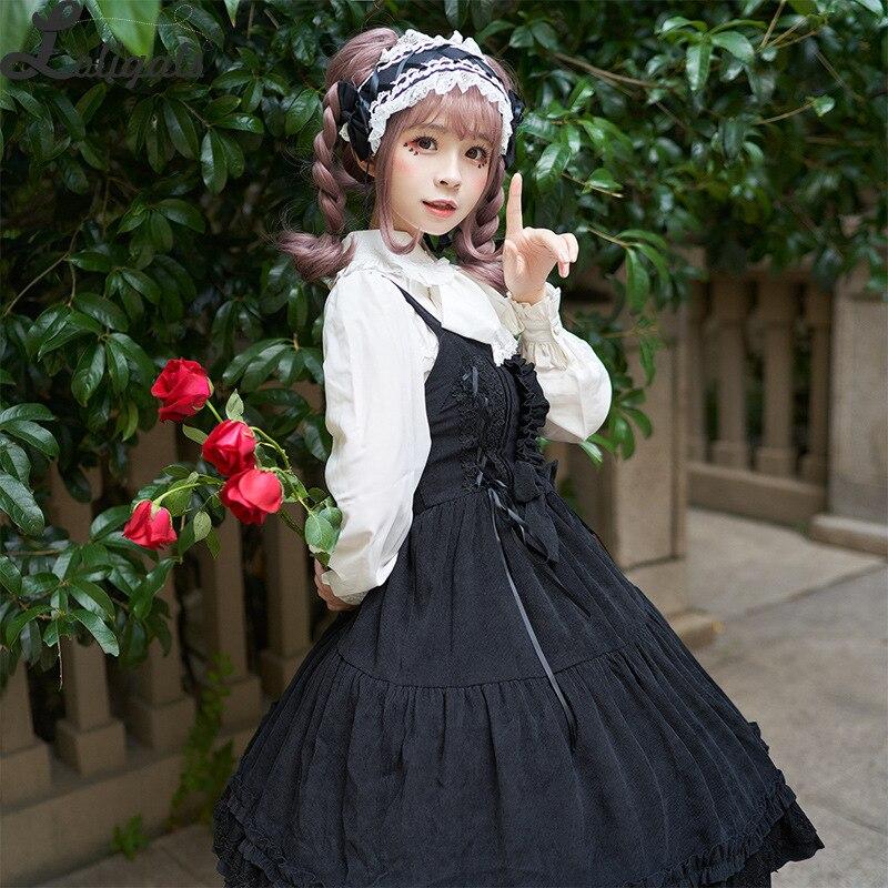 2019 Sweet Corduroy Lolita Dress Thick High Waist Sleeveless Dress