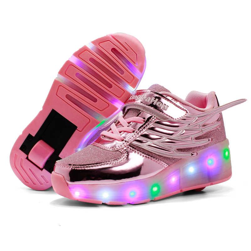 BOUSSAC Kinderen Gloeiende Sneakers Kids Roller Skate Schoenen Kinderen Led Light up Schoenen Meisjes Jongens Sneakers met Wielen Heelies