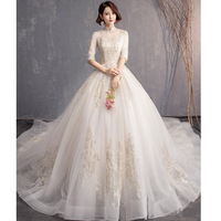 Lace Embroidery Wedding Dress With Big Train 2019 High Neck Half Sleeve Wedding Gown Vintage Bridal Gown Trouwjurk