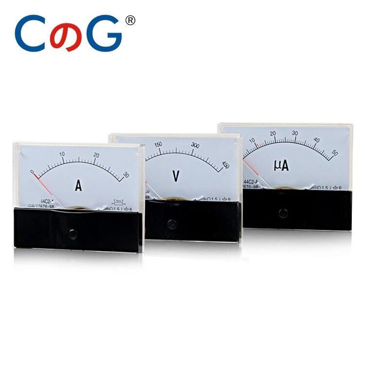 Аналоговый панельный Амперметр 44C2 DC A mA μA V 1A 2A 3A 10A 15A 75mA 100UA 500V