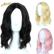 """Allaosify 1"""" Короткие вьющиеся синтетические парики для женщин костюм Overwatch косплей парик высокая температура волокно черный розовый блонд парик"""