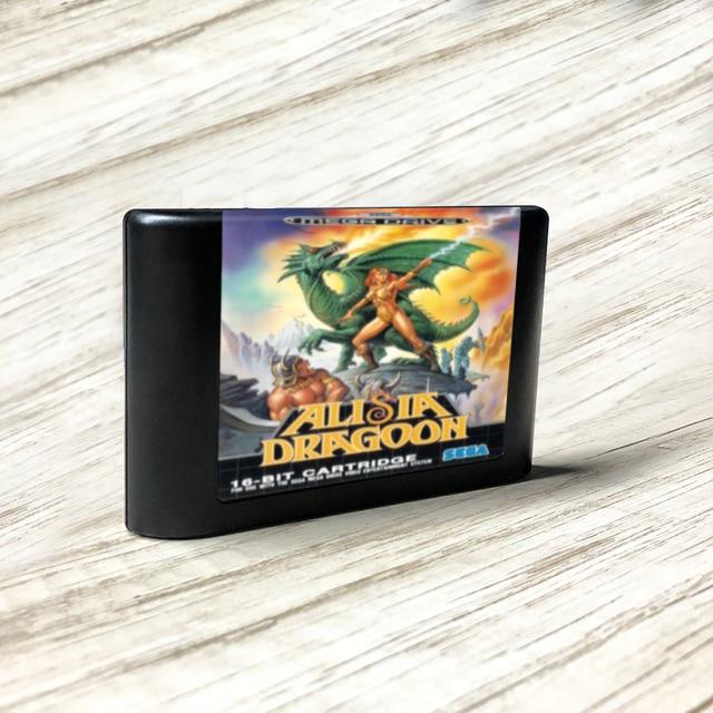 Alisia dragoon eur etiqueta flashkit md electroless ouro pcb cartão para sega genesis megadrive console de jogos de vídeo