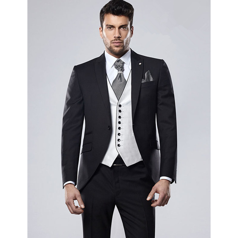 Suits Men British Slim Fit Black Blazer Masculino Slim Fit Men Suits Wedding Suits For Men 3 Pieces (Jacket+Pants+Vest)