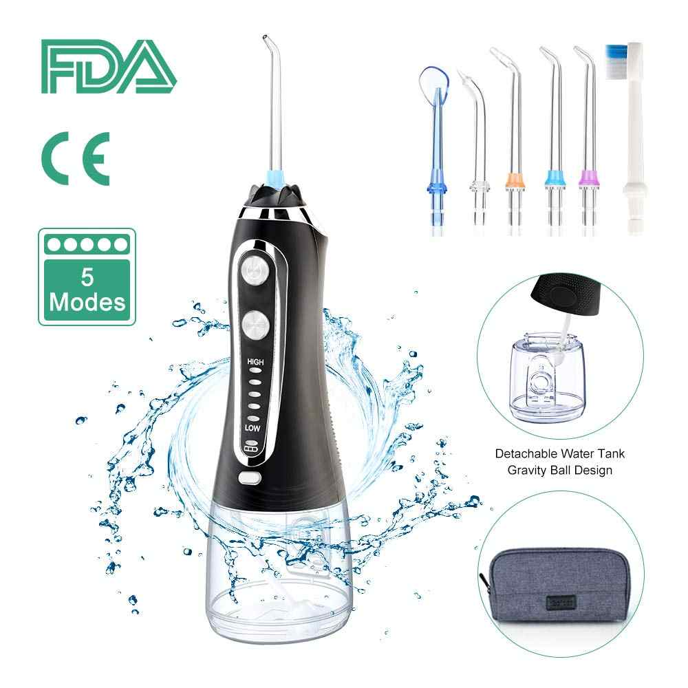 5 Mode Portabel 300 Ml Oral Irrigator Usb Isi Ulang Flosser Gigi Air Jet Tahan Air Irrigator Gigi Gigi Cleaner + 5 tips