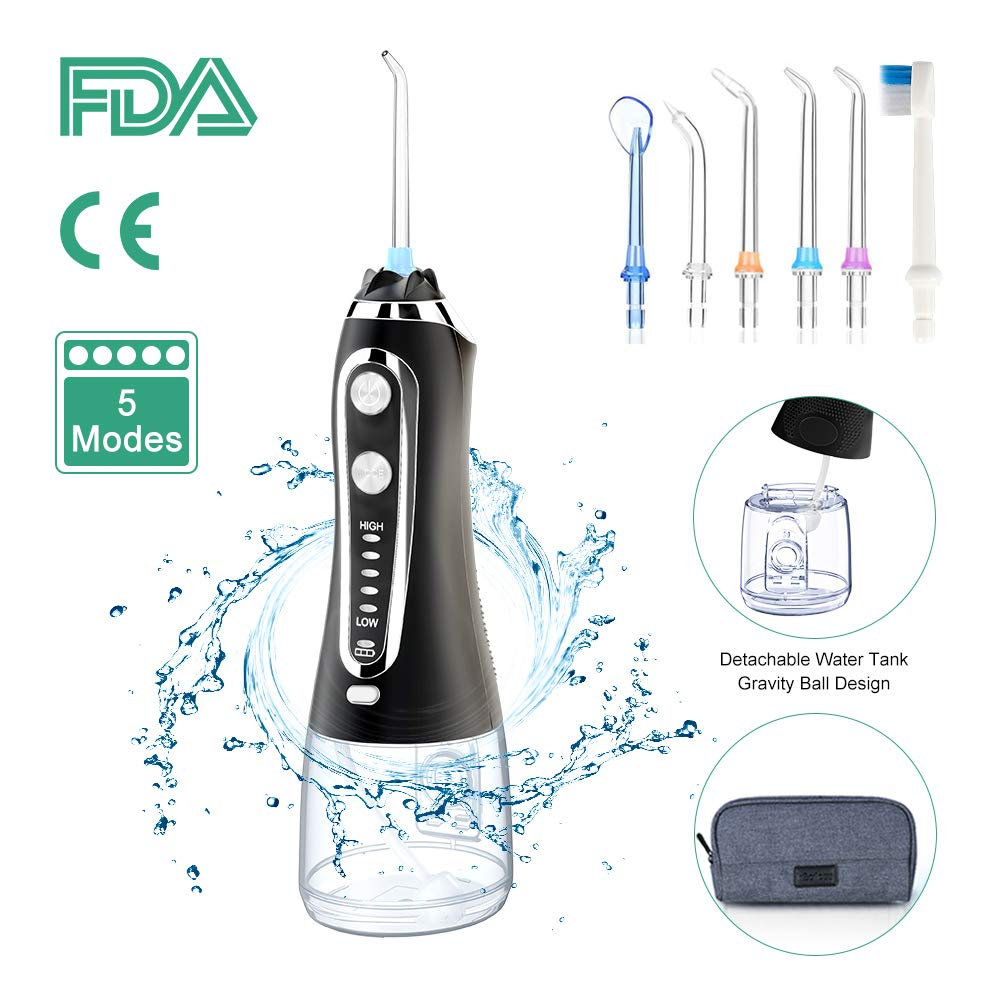 5 Modes Portable 300ml Oral Irrigator USB Rechargeable Dental Water Flosser Jet Waterproof Irrigator Dental Teeth Cleaner+5 Tips