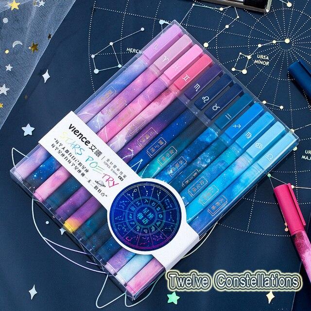 0.5mm mignon aiguille stylo douze Constellation papeterie Gel stylos étudiant Art enfants pour lécole Anime stylo fournitures de bureau japonais