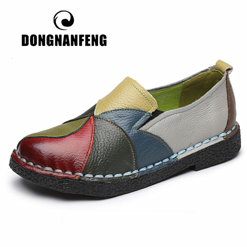 DONGNANFENG Women's Ladies Female Woman Mother Shoes Flats Genuine Leather Loafers Mixed Colorful Non Slip On Plus Size 35-42