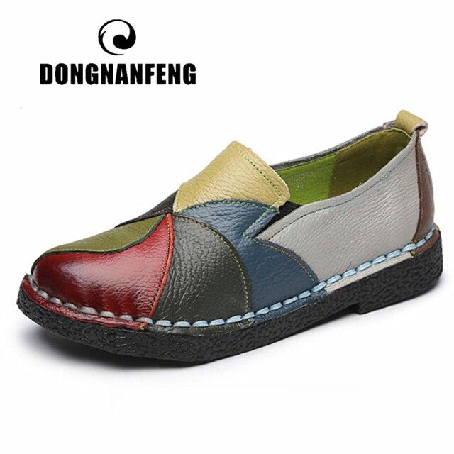 Dongnanfeng Vrouwen Dames Vrouwelijke Vrouw Moeder Schoenen Flats Echt Leer Loafers Gemengde Kleurrijke Non Slip Op Plus Size 35 42