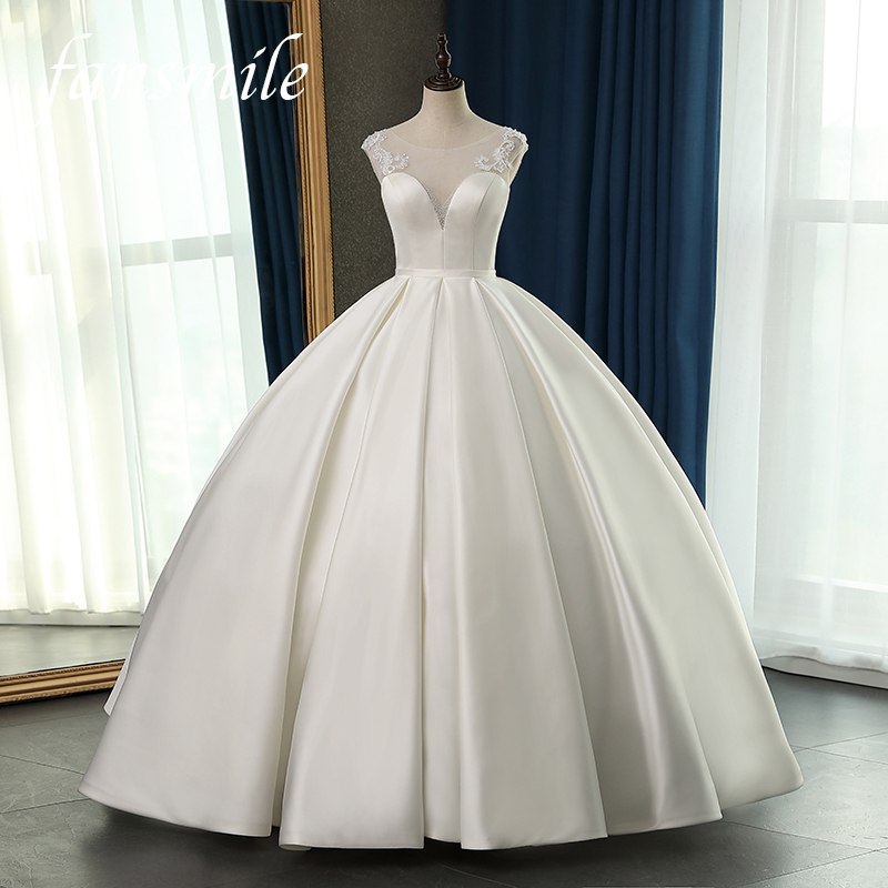 Fansmile New High Quality Vestido De Noiva Satin Wedding Dresses 2020 Plus Size Customized Wedding Gowns Bridal Dress FSM-081F