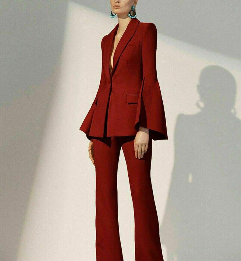 Mother Of The Bride Pant Suits Burgundy Ladies Women Suit Business Blazer Coat Jacket Pants Office Bell Sleeves