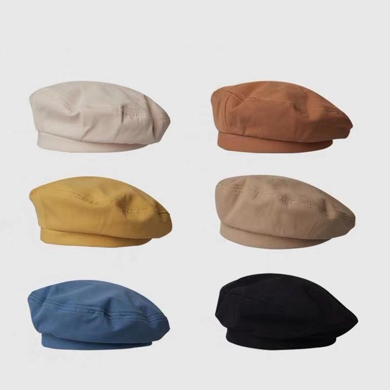 Women Girl Beret Artist Warm cotton Octagonal Flat Cap autumn Winter Beanie Hat Cap Vintage Beret Hats Solid Color Cap Hat Woman