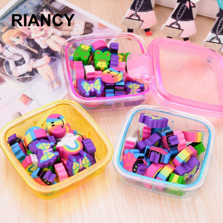 20pcs/lot Rainbow Box Eraser Gomas De Borrar Series Cartoon Goma De Borrar Stationery Gomme Kawaii Erasers For Kids Rubber 00630