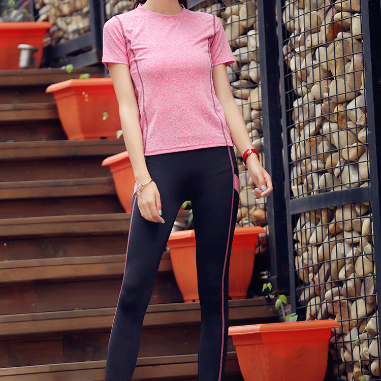 South Korea Women's Quick-Dry Sports Set Elasticity Breathable T-shirt Slim Fit Slimming Tight Capri Pants