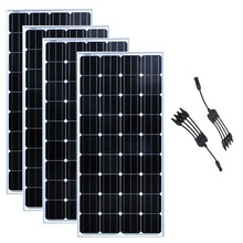 12v 150w Solar Panel China Waterproof 4 Pcs Plates 600w in 1 Y Branch Connector Boat Marine Yacht Home System