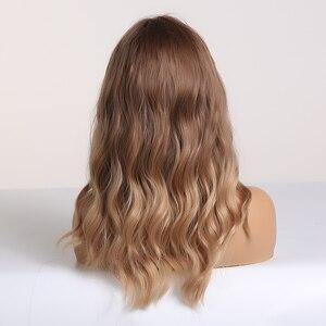Image 3 - Easihair ブラウンブロンドオンブル合成波前髪ミディアムの長さと女性のためのウィッグ波状コスプレヘアウィッグ熱にくい