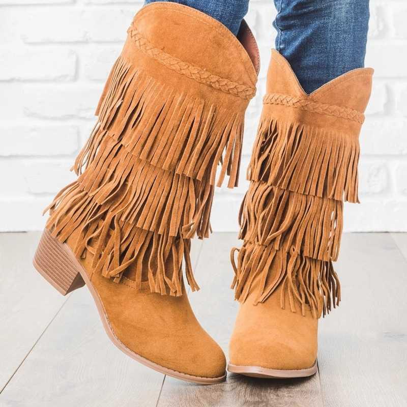 Botas de tacón bohemias para mujeres borlas flecos Flock Faux Suede cuero botines de mujer Niña Zapatos planos botines