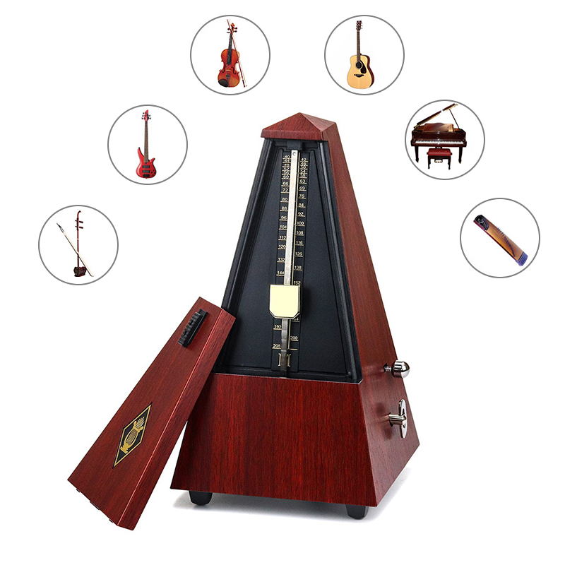 Vintage Tower Type Mini Metronome For Guitar Bass Piano Violin Guitar Metronome Bell Ring Rhythm Mechanical Pendulum Accessories