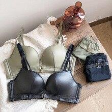 Conjunto de sujetador liso para mujer, ropa interior Sexy de una pieza, sin costuras, con escote profundo, tirantes, 2019