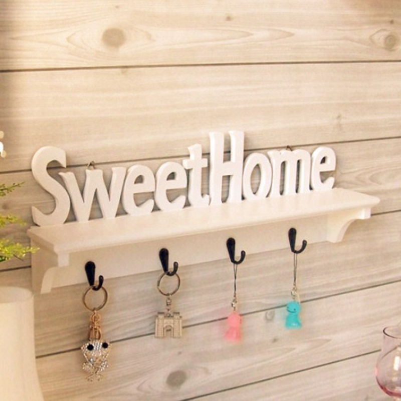 Sweet Home Key Hook Home Decoration Hanger Plastic Wood Wall Mounted Hanger Shelf/Coat Hat Clothes Rack