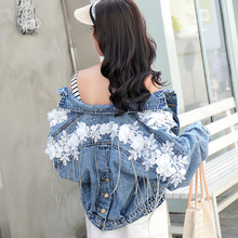 Jean Jacket Women 2019 Autumn Women tassel Appliques Button Street Fashion Denim