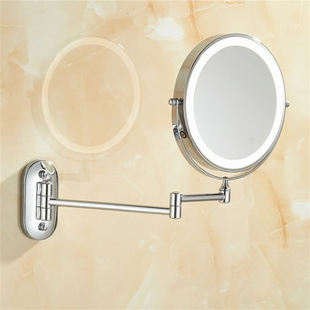 цена на 8 inch Bedroom or Bathroom Wall Mounted Makeup Mirror, 1X &10X Magnifying Double  Mirror, Touch Button Adjustable LED Light