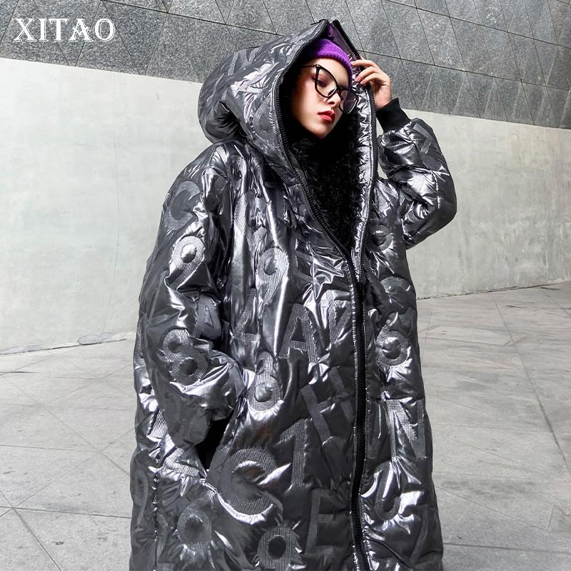XITAO Personality Winter Coat Women Letter Pattern Streetwear Parka Tide Brand Loose Plus Size Women Clothes 2019 New DMY1754