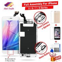Conjunto completo de tela para o iphone 5 5c 5S se tela lcd completo para o iphone 6s 7 8 plus + botão casa + câmera frontal + alto-falante