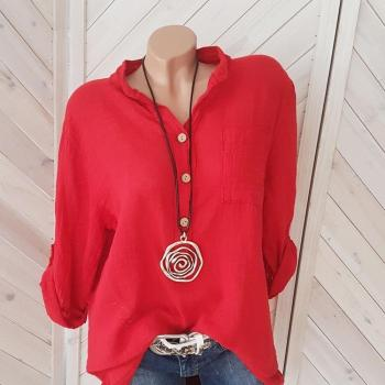 Large size loose cotton blouse 2020 summer new solid color blouse casual long-sleeved V-neck blouse ladies tops casual twist blouse