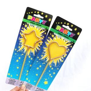 Love Star Heart-shaped Pentagram Sparkler Etinceleur Candle Fairy Stick Birthday Cake Decoration Party Supplies(China)