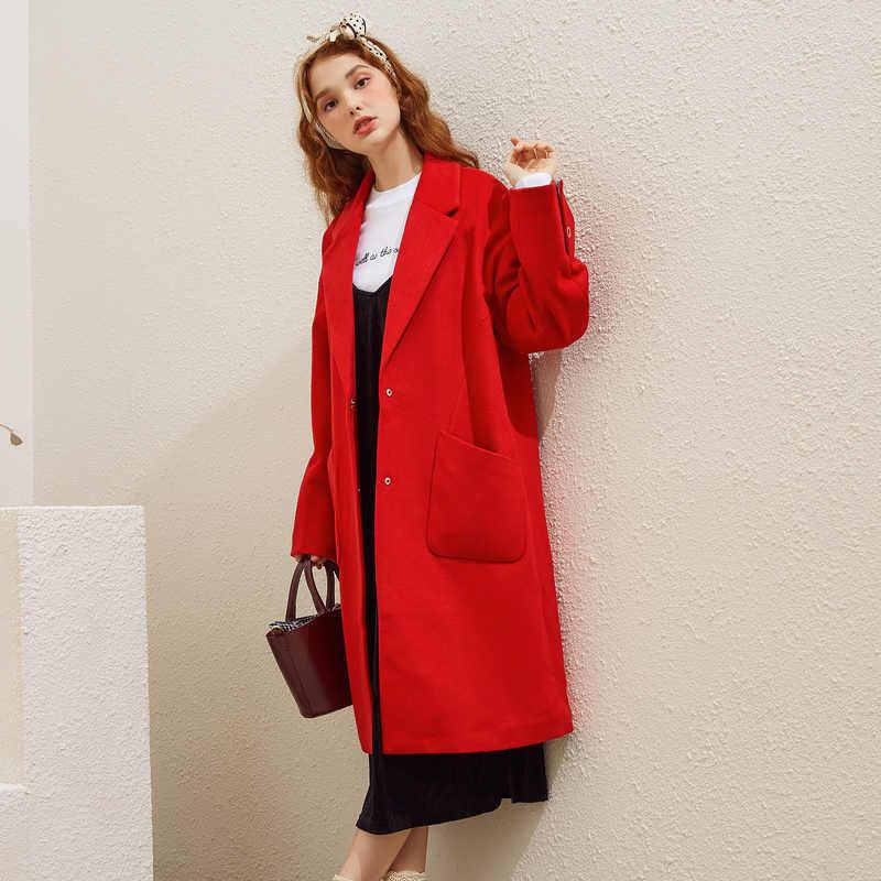 Metersbonwe女性のウールのコートアウター秋と冬のファッション暖かいウールブレンド女性ファッションエレガントなオフィスコート