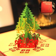 цена на 3D Christmas Tree Card Papercraft Pop Up Greeting Cards Christmas Greeting Holiday Card For Christmas Decoration