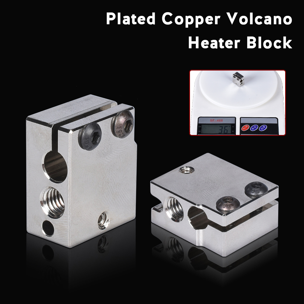 High Quality Volcano Heater Block Plated Copper NF-V6 PT100 Heat Block 3D Printer Parts For E3d Hotend BMG Titan Extruder Heated