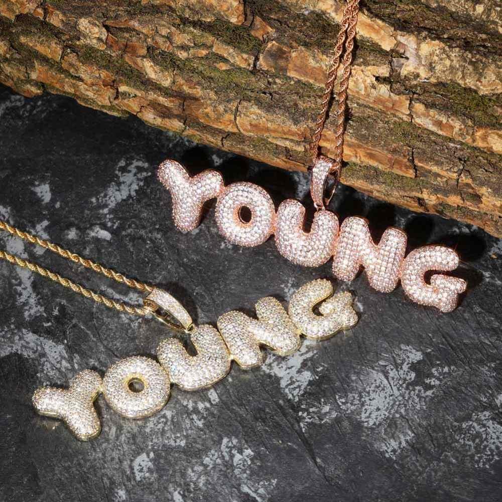 Nazwa własna Iced Out Bubble Letters Chain wisiorki naszyjniki męskie Charms cyrkon Hip Hop biżuteria ze złotym srebrnym łańcuchem tenisowym