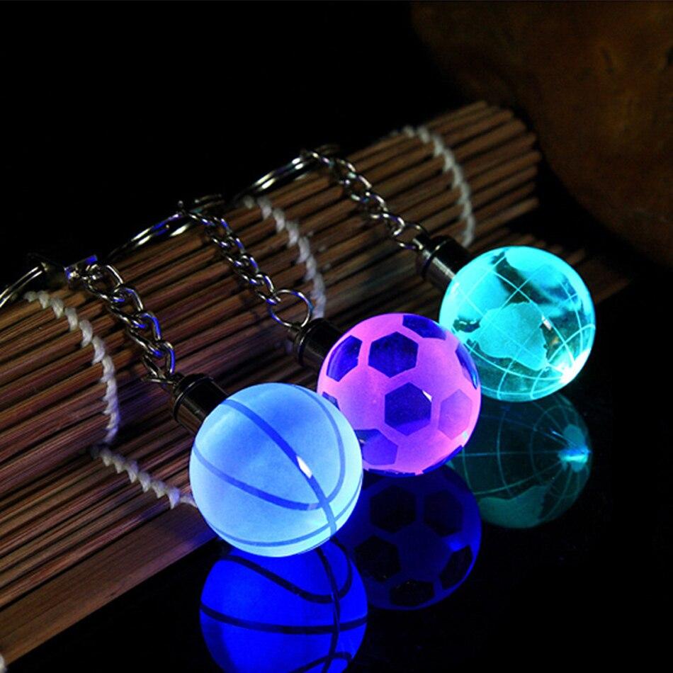3D Engraved Pendant Fashion Men Women Car Led Keychain Student Sportsman Bag Gifts Decorative LED Glow Crystal Ball Key Chain